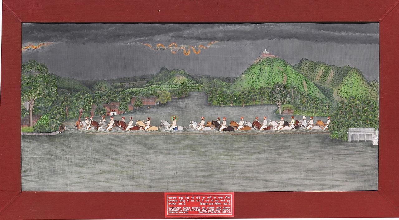 -Shivalal._Maharana_Fateh_Singh\'s_hunting_party__flood_Udaipur,_Mewar,_1893,.jpg