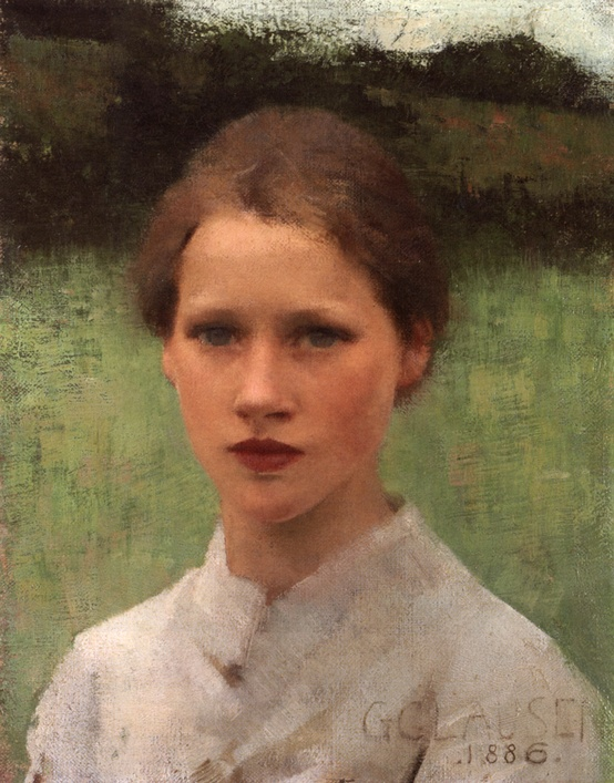 Sir George Clausen (1852-1944) A Village Maiden Oil On Canvas -1886.jpg