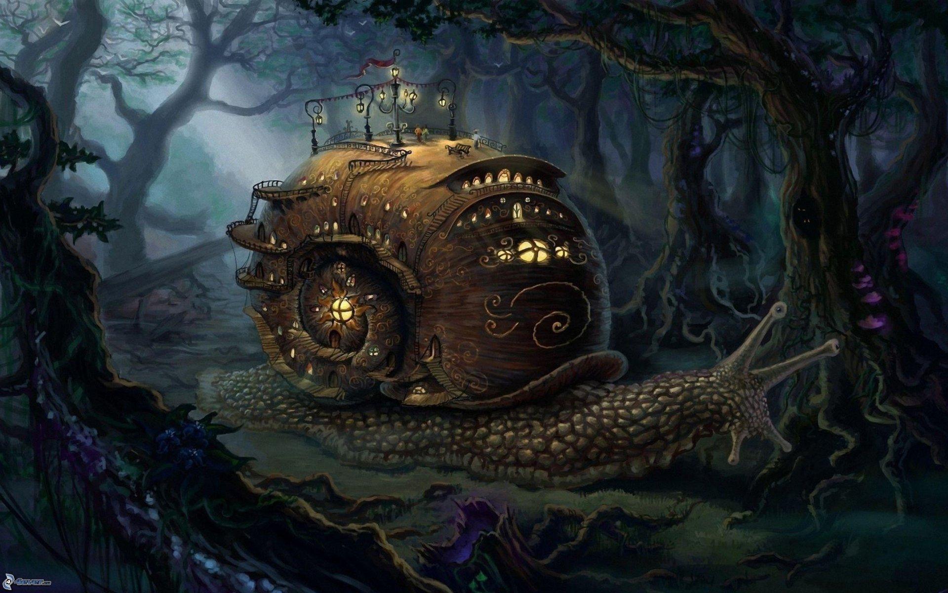 slimak,-kresleny-dom,-tmavy-les,-fantasy-175908.jpg