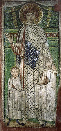 St_George_as_patron_of_two_children._Mosaic,_church_of_St_Demetrios_in_Thessaloniki.jpg
