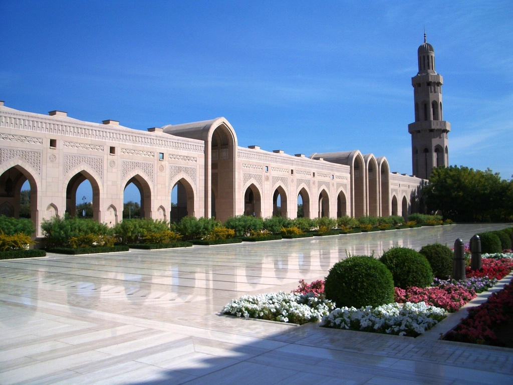 Sultan Qaboos Grand Mosque in Muscat -  Oman (courtyard).jpg