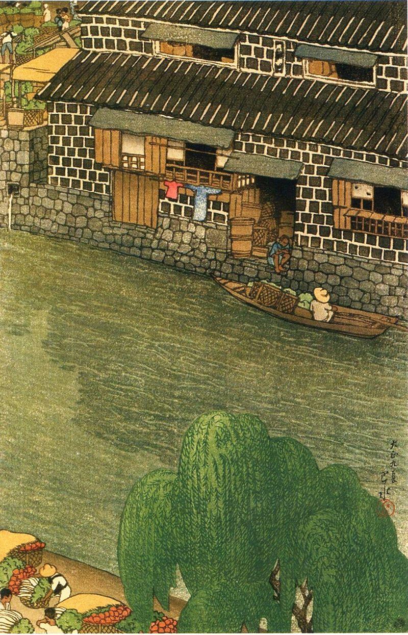 Tōkyō_jūnidai,_Daikon-gashi_by_Kawase_Hasui.jpg