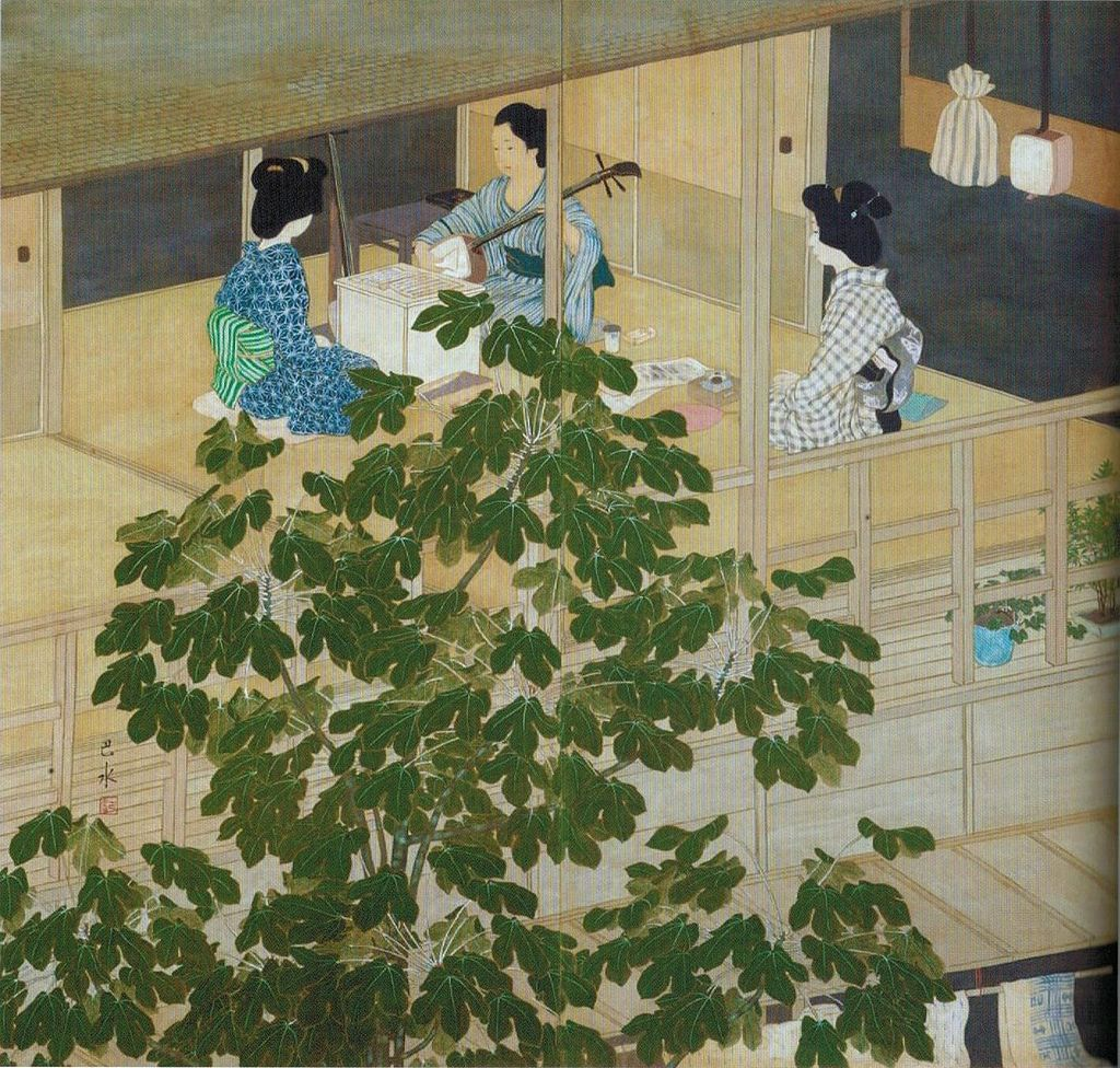 'The_Singing_Lesson'_by_Kawase_Hasui,_1915,_two-panel_screen.jpg
