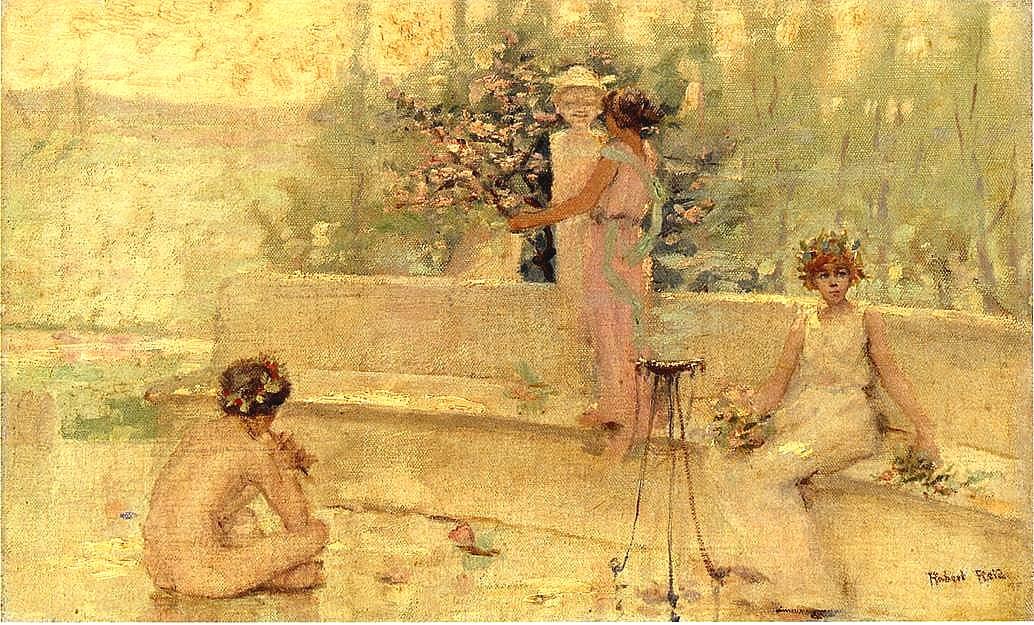 Three Figures in an Italian Garden, Robert Reid.jpg