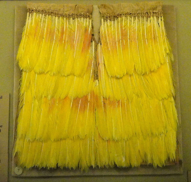 Tunic,_probably_Chan_Chan,_amazona_parrot_feathers_treated_with_tapirage_-_Chimu_objects_in.JPG