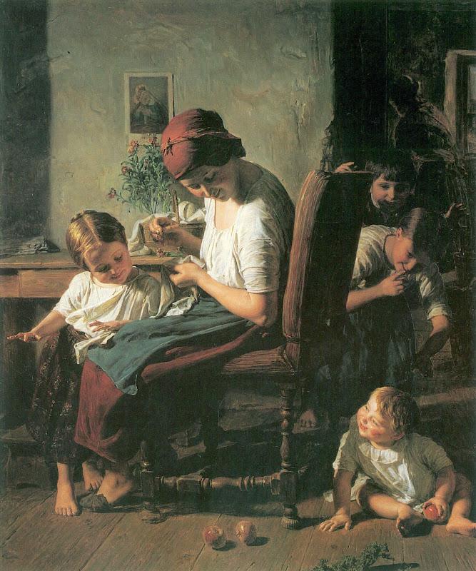 Waldmüller, Ferdinand Georg  Mutter mit Kindern  1854.jpg