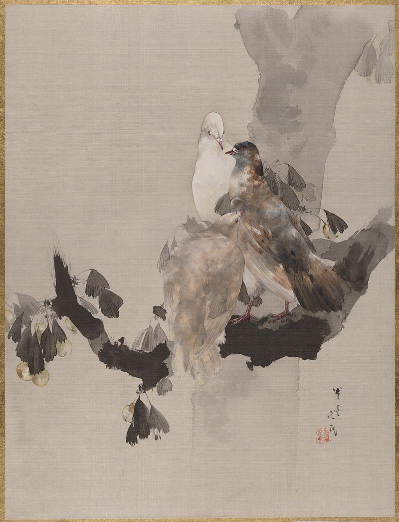 Watanabe_Seitei_-_Pigeons_in_a_Tree.jpg
