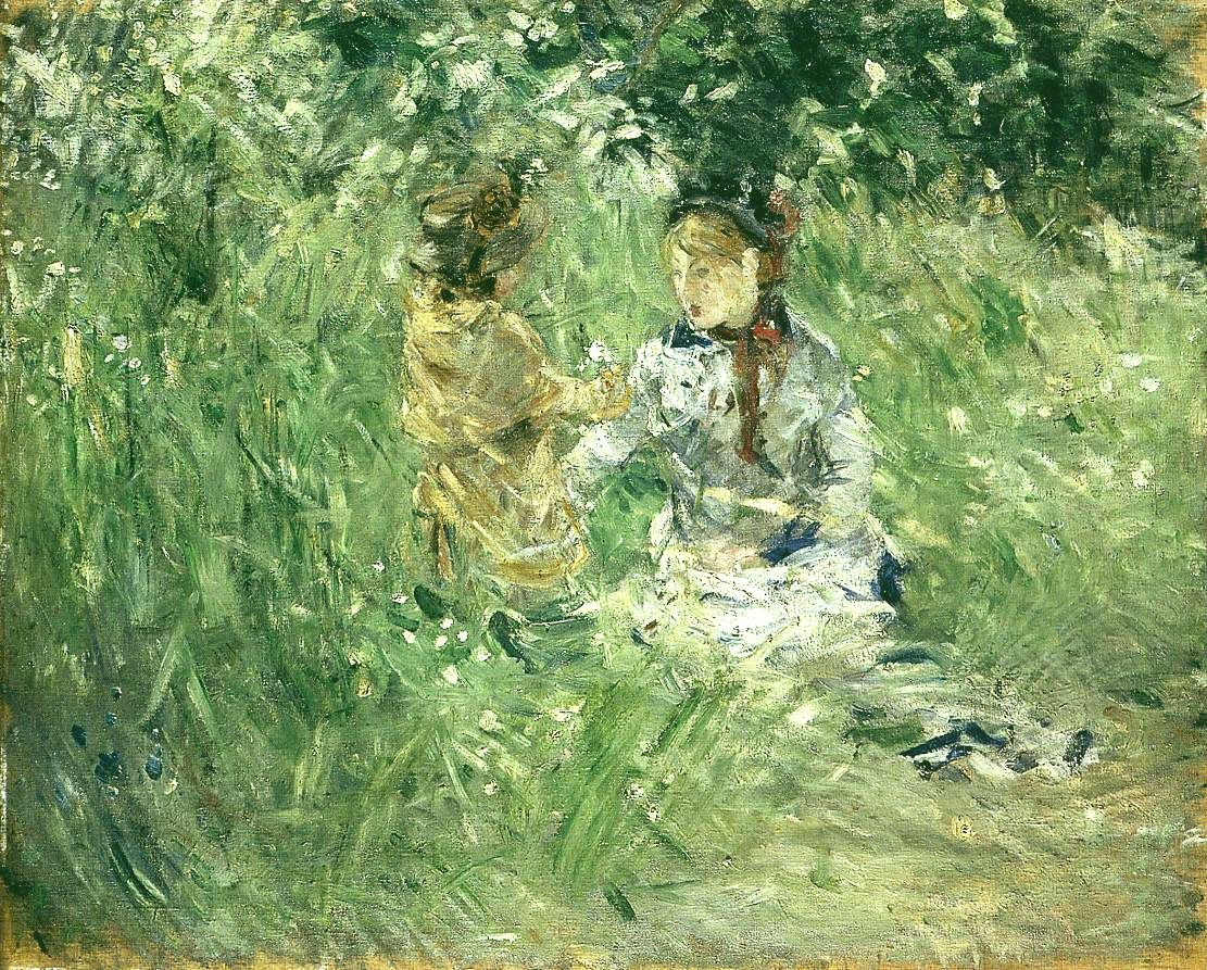 Woman and Child in a Meadow at Bougival.jpg
